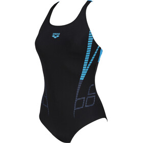 arena Shiner Swim Pro Back One Piece Badpak Dames, black/turquoise